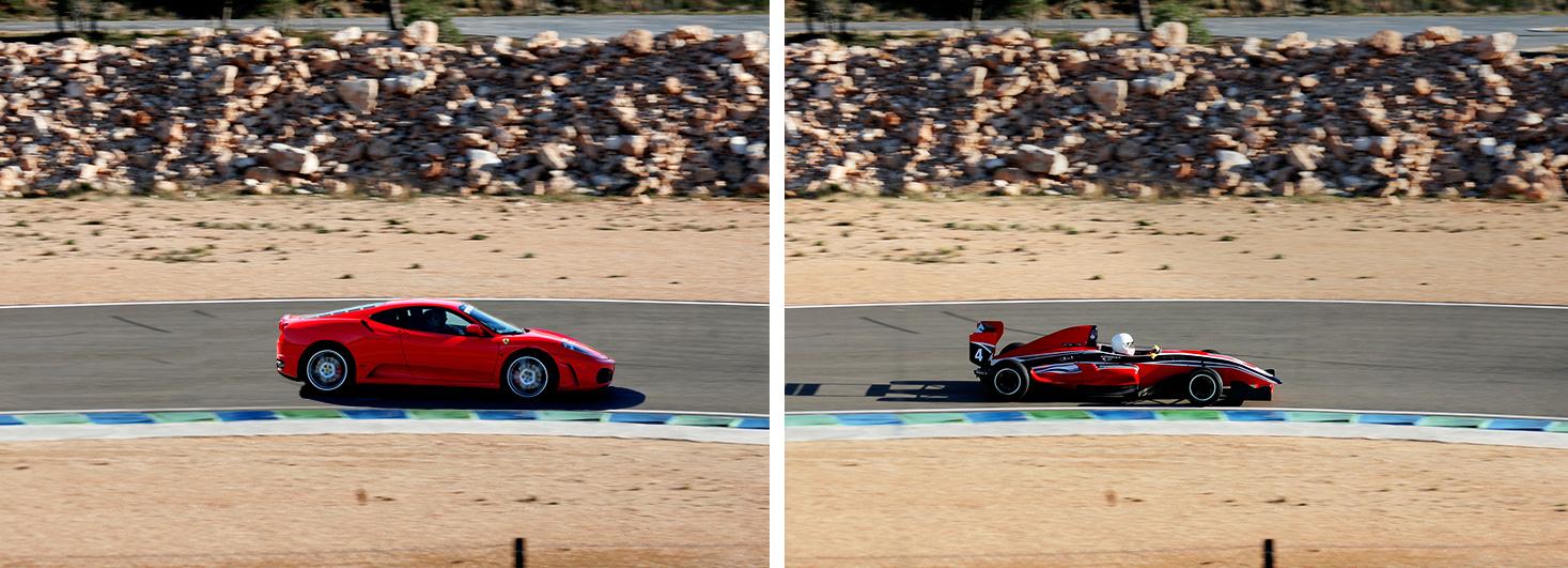 Ferrari F430 F1 y un Fórmula en el Circuit Calafat