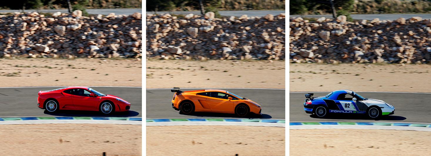 Conduce un Ferrari F430 F1, un Lamborghini Gallardo y un Porsche Boxster CUP